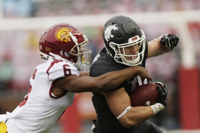 Washington State running back Max Borghi, right, carries the ball while pressured by Southern California cornerback Isaac Taylor-Stuart during the first half of an NCAA college football game, Saturday, Sept. 18, 2021, in Pullman, Wash. (AP Photo/Young Kwak)