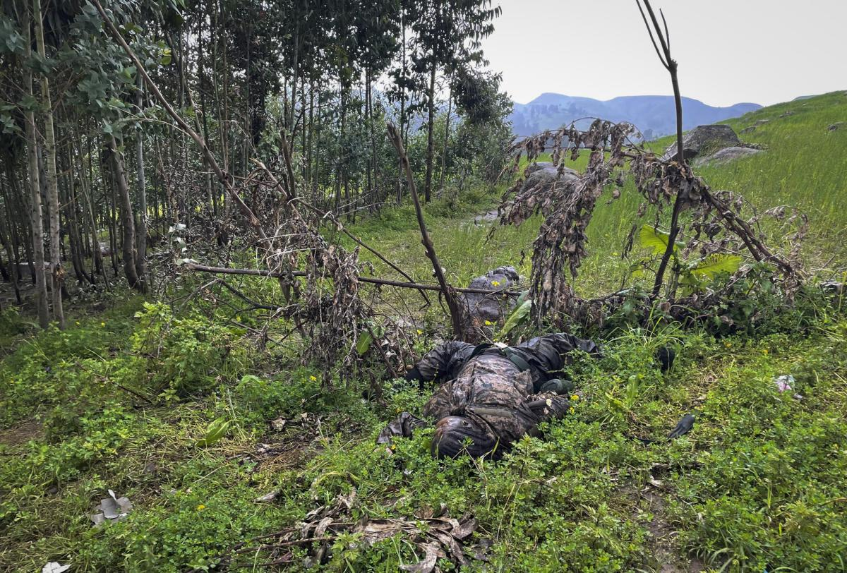 """The dead body of an unidentified person wearing a military uniform lies on the ground next to trees near the village of Chenna Teklehaymanot, in the Amhara region of northern Ethiopia Thursday, Sept. 9, 2021. At the scene of one of the deadliest battles of Ethiopia's 10-month Tigray conflict, witness accounts reflected the blurring line between combatant and civilian after the federal government urged all capable citizens to stop Tigray forces """"once and for all."""" (AP Photo)"""
