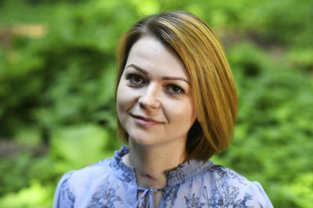 FILE - In this Wednesday, May 23, 2018 file photo, Yulia Skripal poses for the media during an interview in London. British police said Tuesday, Sept. 21, 2021 they are charging a third Russian suspect in the 2018 nerve agent attack on a former Russian agent in England. Scotland Yard said prosecutors believe there is sufficient evidence to charge a man known as Sergey Fedotov with conspiracy to murder, attempted murder, possessing and using a chemical weapon, and causing grievous bodily harm.  Former Russian spy Sergei Skripal and his daughter, Yulia, were targeted in a nerve agent attack in 2018 in Salisbury, England. (Dylan Martinez/Pool via AP, File)