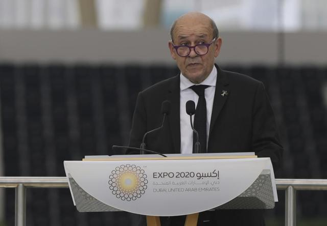 French Foreign Affairs Minister Jean-Yves Le Drian, talks during an official ceremony at Al Wasl Plaza of the Dubai Expo 2020 in Dubai, United Arab Emirates, Saturday, Oct. 2, 2021. (AP Photo/Kamran Jebreili)