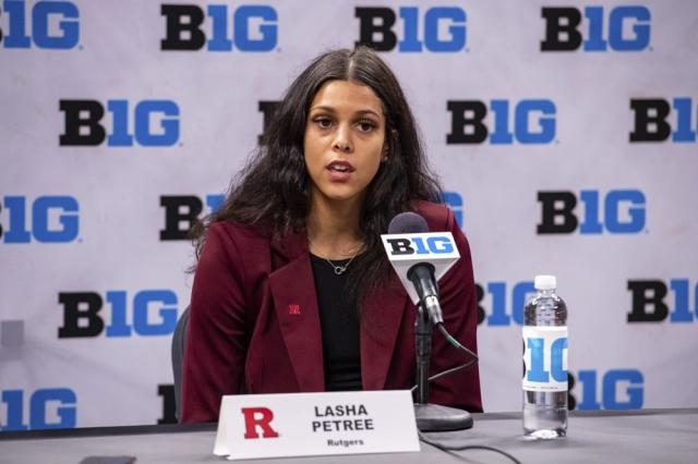 Rutgers' Lasha Petree addresses the media during the first day of the Big Ten NCAA college basketball media days, Thursday, Oct. 7, 2021, in Indianapolis. (AP Photo/Doug McSchooler)