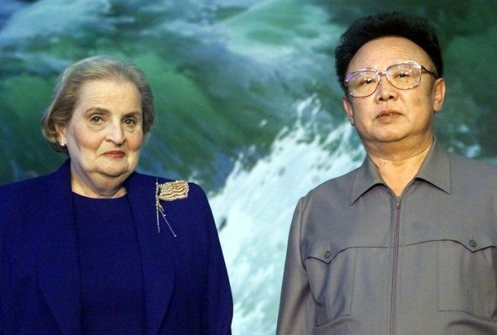 Kim Jong Il, right, and Albright at the Pae Kha Hawon Guest House in Pyongyang, North Korea, in 2000. (AP Photo/David Guttenfelder. Pool)