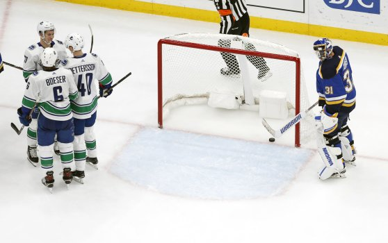 Image result for boeser hat trick against st louis