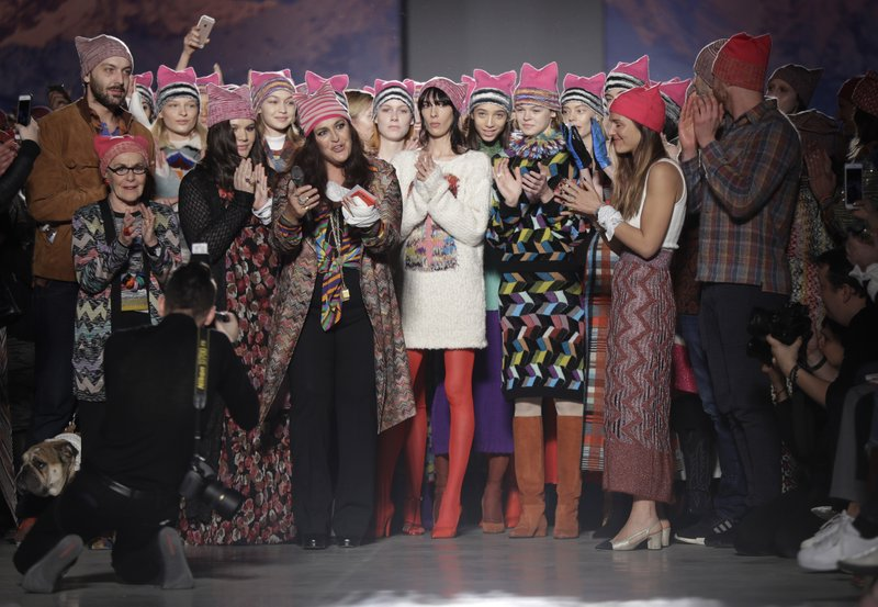 Angela Missoni and models at the end of the Missoni A/W 2017 show. (AP Photo/Luca bruno)