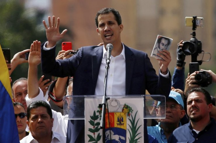 Juan Guaido, head of Venezuela's opposition-run congress, declares himself interim president of Venezuela. (AP Photo/Fernando Llano)
