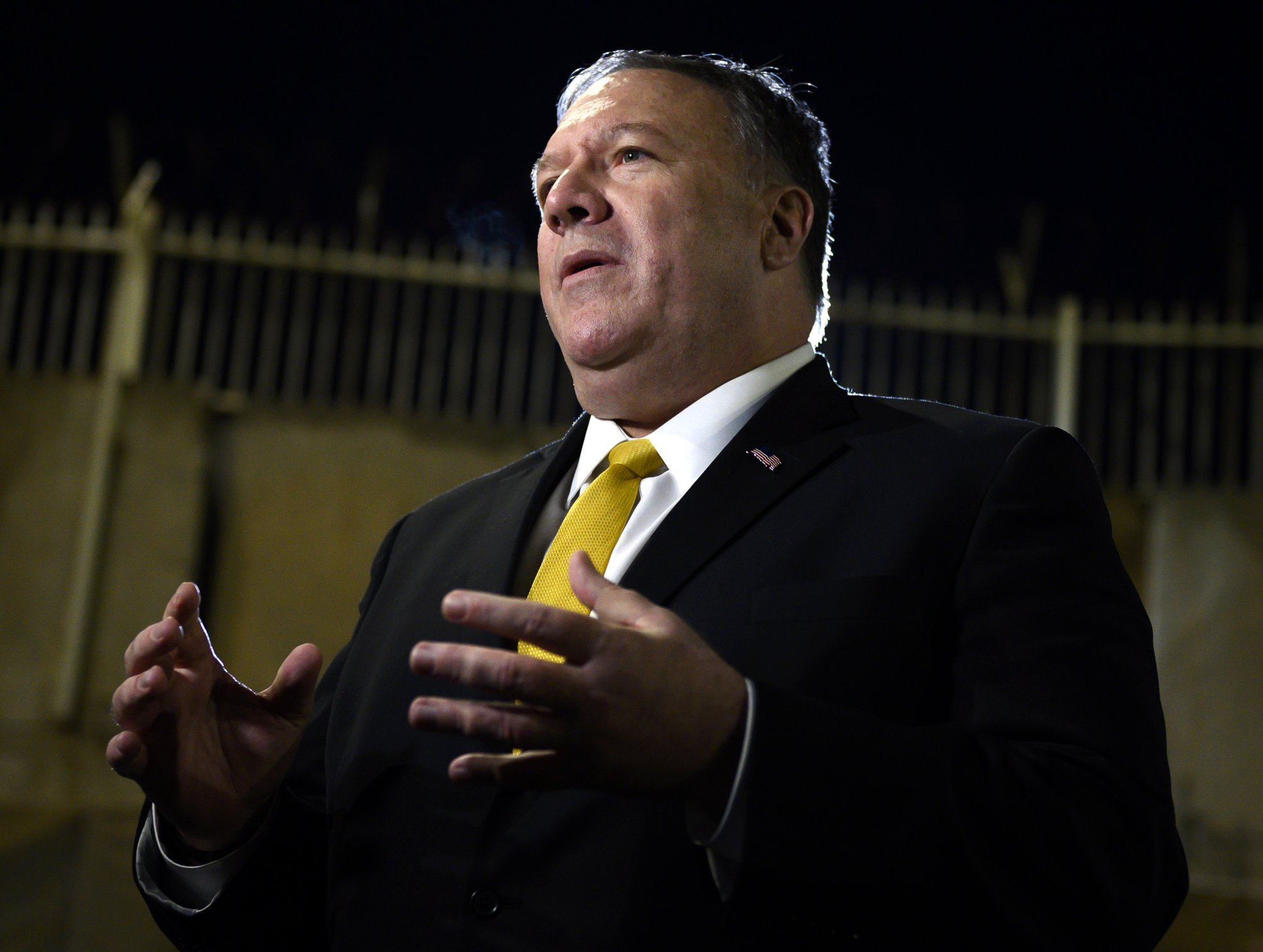 U.S. Secretary of State Mike Pompeo speaks to the media at the U.S. Embassy compound in the Iraqi capital Baghdad after his tour around Irbil in the Kurdish autonomous region of northern Iraq on Wednesday, Jan. 9, 2019. (Andrew Caballero-Reynolds/Pool Photo via AP)
