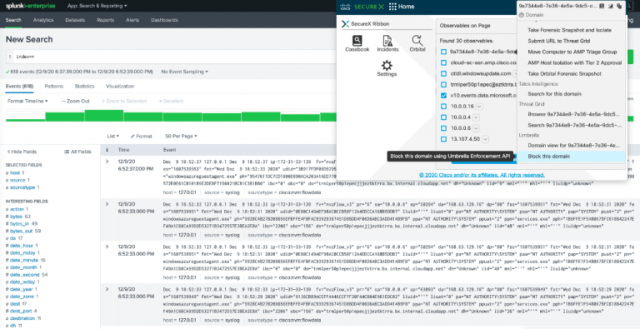 Figure 1. With the SecureX ribbon browser extension, extract observables from third-party tools such as Splunk and take response actions.