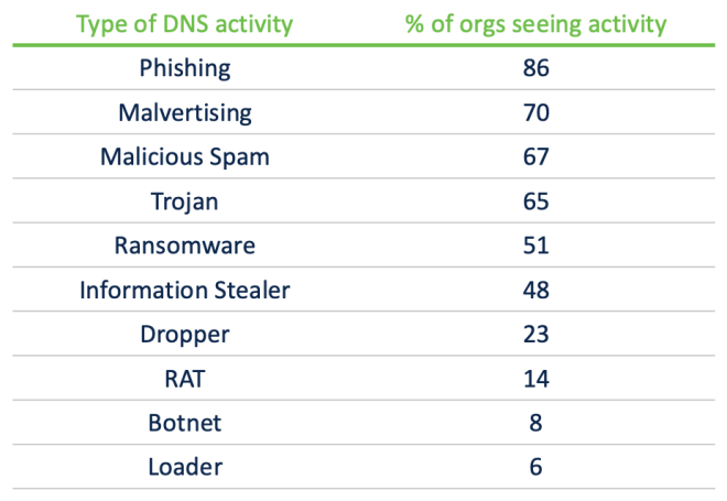 Type of DNS activity