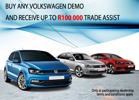 Buy any Volkswagen Demo and get up to R100 000 trade in assistance