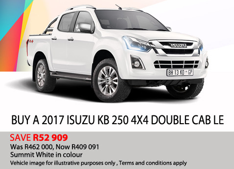 2017 Isuzu KB 250 4X4 Double cab - Save R52 909