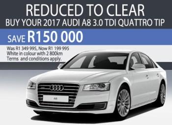 Save R150 000 on an Audi A8 3.0 TDi Quattro TIP