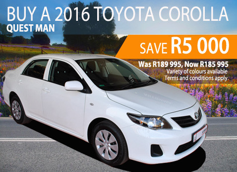 2016 Toyota Corolla Quest Manual - Save R5 000