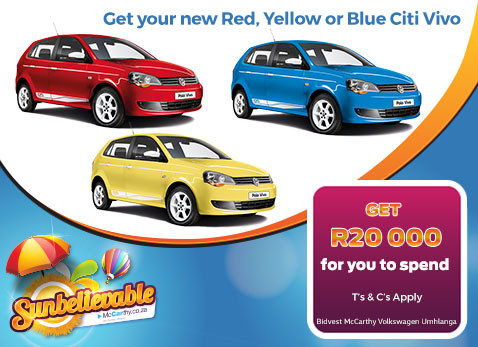 NEW RED - YELLOW OR BLUE CITI VIVO - R20 Cash back
