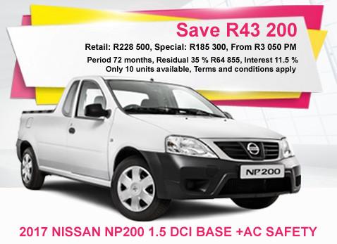 Save R43 000 on a 2017 Nissan NP200 1.5 DCi Base this Christmas