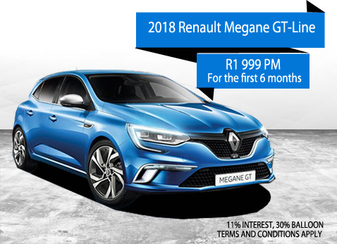 2017 RENAULT MEGANE GT-LINE from R1 999 for the first 3 months