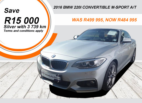2016 BMW 220I CONVERTIBLE M-SPORT A/T - Save R15 000
