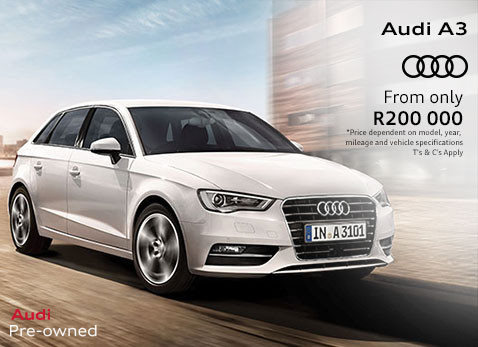 Audi A3 from only R200 000.00