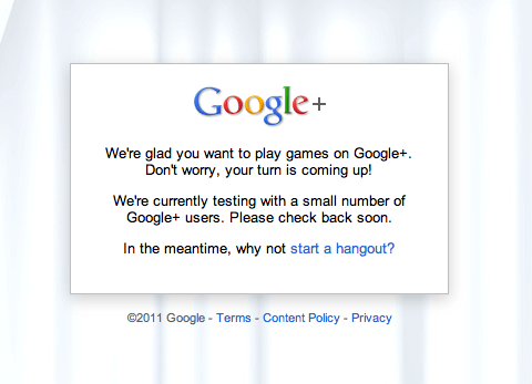 Message when google plus games not enabled