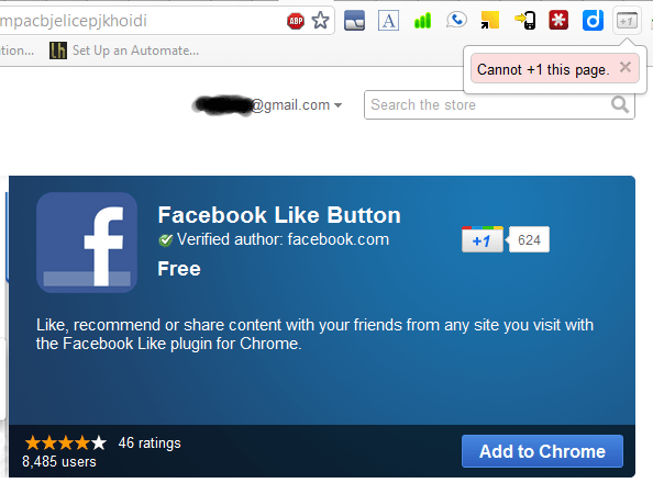 Cannot +1 the new facebook Like button extension on google