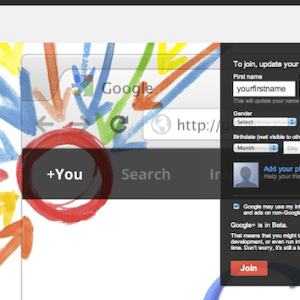 Google+ signup or join page and create profile