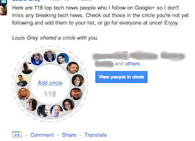 A shared circle appears in a persons Google+ profile