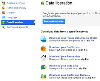 Data liberation (download export data)