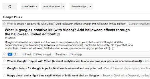 Google reader with Google+ integration changes