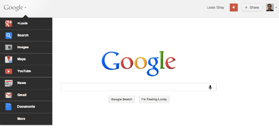 Google+ menu on the search page