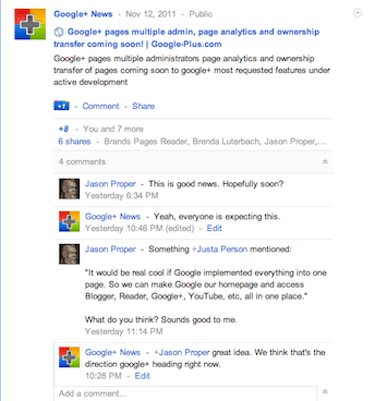 Google+ nested comments, replies and discussions