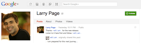 Larry Page verified Google+ profile