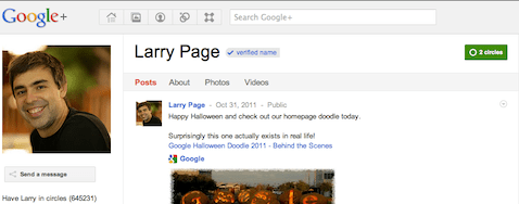 Larry Page profile on Google+
