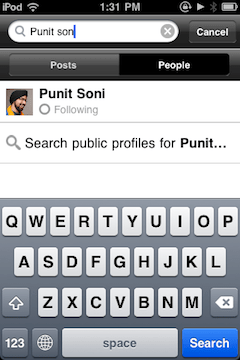 Google+ search in iOS iPhone App