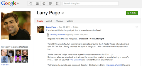 Larry Page Is Now Second Most Followed People on Google+ to Cross One Million Followers!