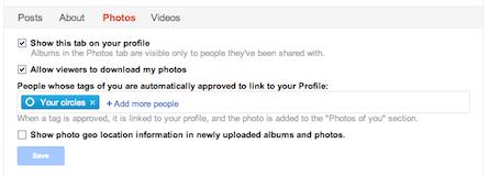 Google+ profile Photos tab settings
