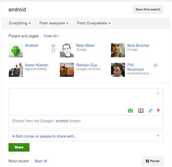 Google+ search sharing discussion
