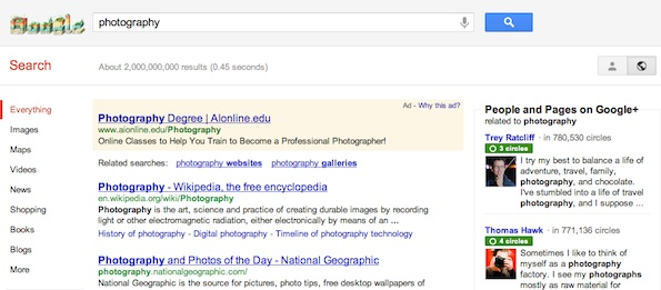 Hide personal results in Google