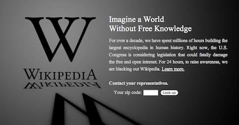 Wikipedia english protesting #SOPA