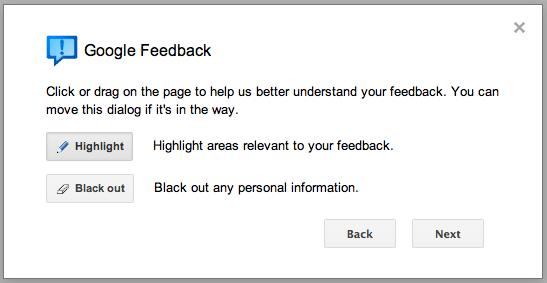 Google+ feedback highlight blackout