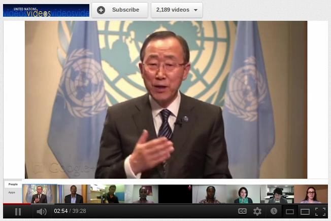 United Nations Secretary General Ban Ki-Moon Using Google+ Hangout to Meet Youngsters Around the World [Video]