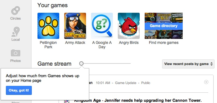 New game slider to filter game updates