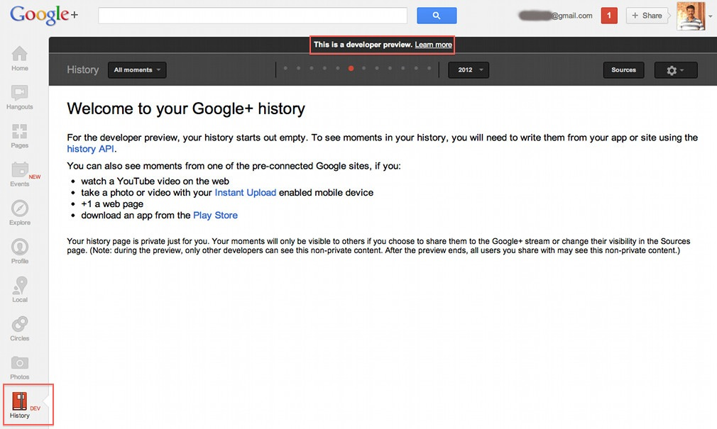 History with api Google+ way of facebook timeline in