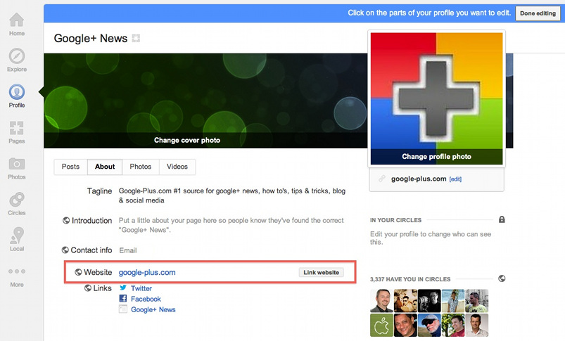 How to Link Your Website to Your Google+ Page With a Click of a Button?
