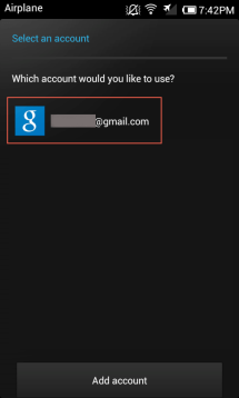 Select a account from the list