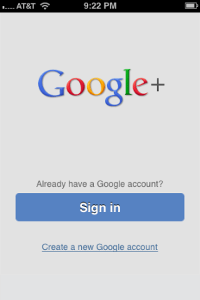 2. Google+ app sign in screen