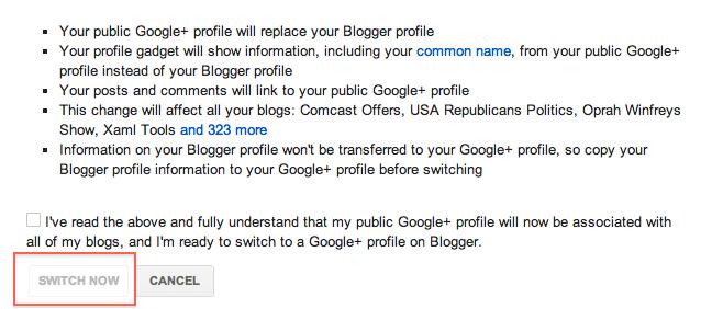 Google+ profile replaces blogspot profile
