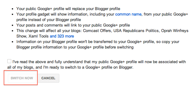 Google+ profile replaces blogspot profile