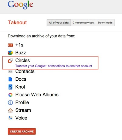 Transfer google+ circles from one account to another account