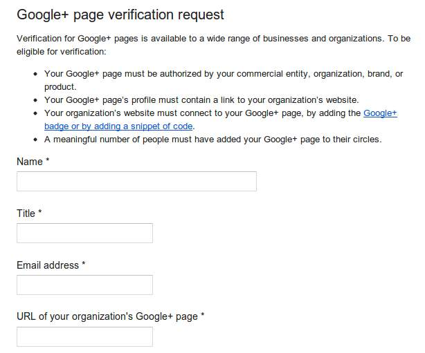 How to Request for Google+ Page Verification (Verified Profile Seal)?