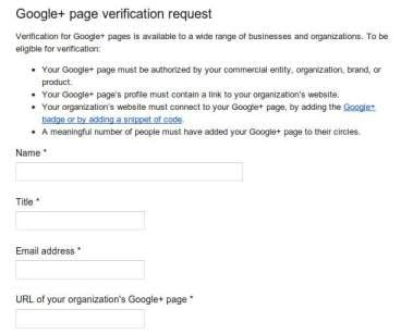 verified profile google+ page request form