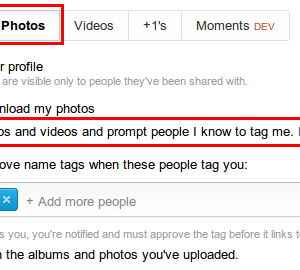 turn off face tagging in google+ via profile